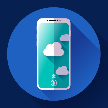 iphon: Smartphone flat icon, mobile phone icon vector. Flat 2.0 design style. Illustration
