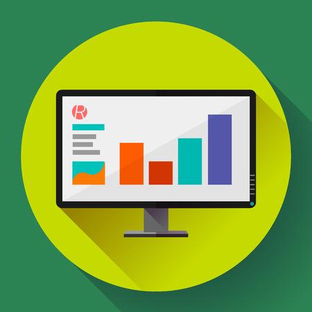 Computer monitor display wide screen icon. Presentation icon. Flat design style. Illustration