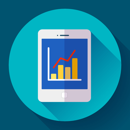 stat: Tablet flat icon in ipad style with stat diagram. Flat 2.0 design style Illustration