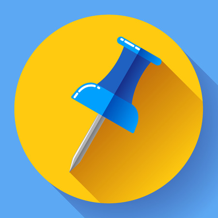 Flat Push pin icon for web and application