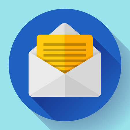 notification: Open Envelope Mail Icon new letter sms message notification Flat 2.0 design style Illustration