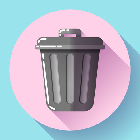 Trash can icon Recycle Bin Garbage Flat Vector Illustration. Иллюстрация