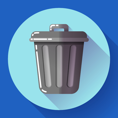 wastepaper basket: Trash can icon Recycle Bin Garbage Flat Vector Illustration. Illustration