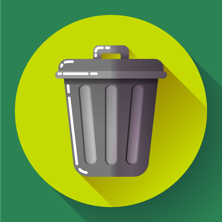 dumping: Trash can icon Recycle Bin Garbage Flat Vector Illustration. Illustration