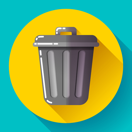 trash can: Trash can icon Recycle Bin Garbage Flat Vector Illustration. Illustration