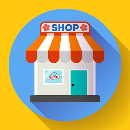outdoor advertising construction: Store front vector icon Flat design small shopping center exterior illustration.