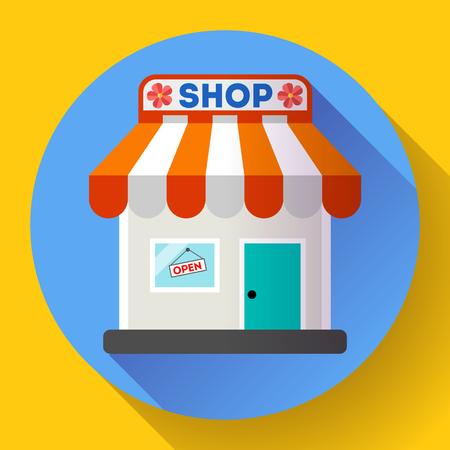 shopfront: Store front vector icon Flat design small shopping center exterior illustration.