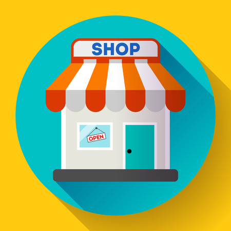 sellout: Store front vector icon Flat design small shopping center exterior illustration.