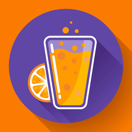 ice tea: Flat orange ice tea drink icon glass. Orange juice glass Illustration