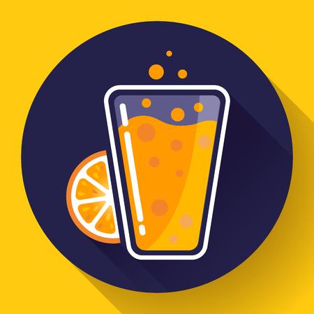 verre de jus d orange: Plat orange, thé glacé boisson icône verre. Orange verre de jus Illustration