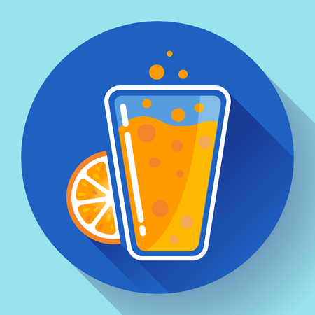 orange juice: Flat orange ice tea drink icon glass. Orange juice glass Illustration