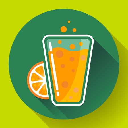 verre jus orange: Plat orange, th� glac� boisson ic�ne verre. Orange verre de jus Illustration