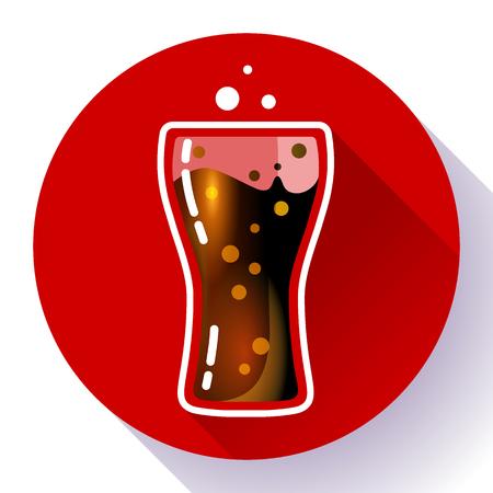 Cold fizzy Cola splash or soda glass with cola bubbles icon flat. Cuba libre cocktail