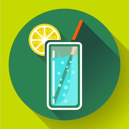 designe: glass of water with lemon icon flat 2.0 designe style long shadow. Illustration