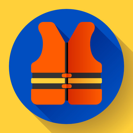 water safety: life safety jacket vest icon flat 2.0 vector. safety in water. Illustration
