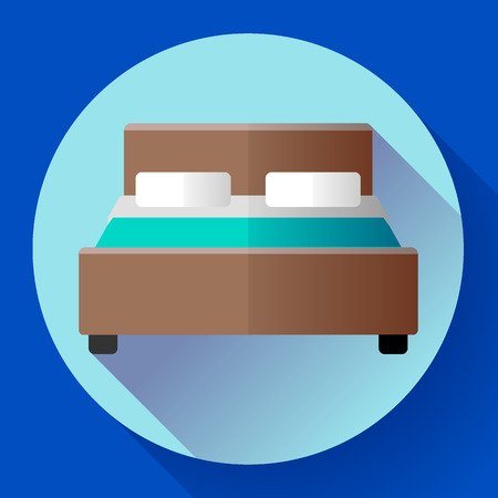 comfortable: Hotel Double Bed icon flat style. hotel or hostel booking room symbol