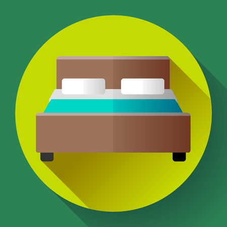 hostel: Hotel Double Bed icon flat style. hotel or hostel booking room symbol