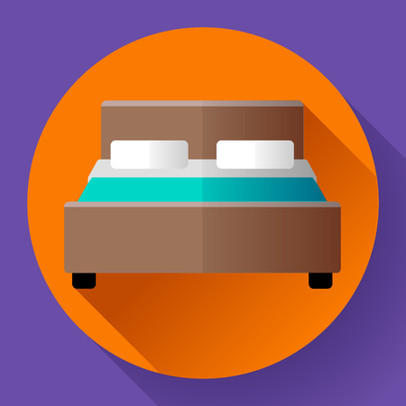 eviction: Hotel Double Bed icon flat style. hotel or hostel booking room symbol