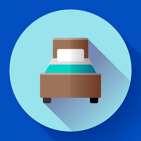 hostel: Hotel single Bed icon flat style. hotel or hostel booking room symbol