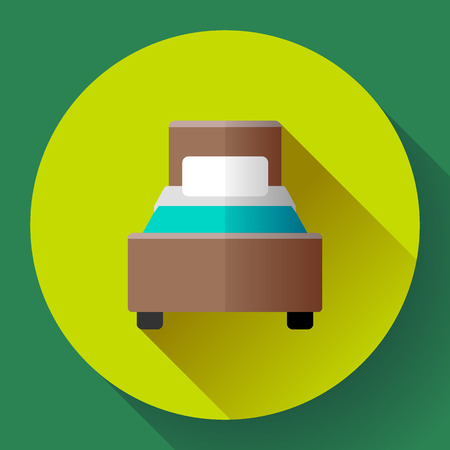 Hotel single Bed icon flat style. hotel or hostel booking room symbol