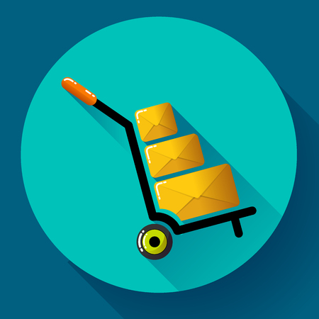 shipped: Warehouse Trolley flat 2.0 long shadow vector icon Illustration