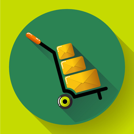 movers: Warehouse Trolley flat 2.0 long shadow vector icon Illustration