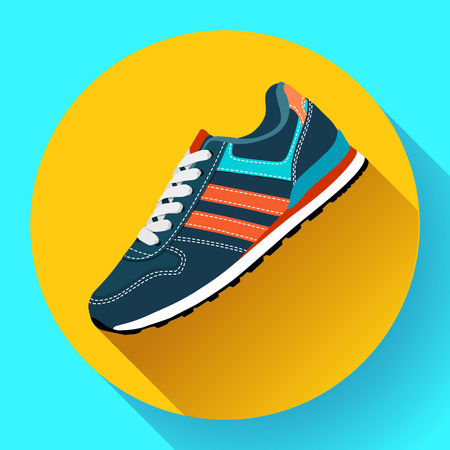 fitness sneakers shoes for training running shoe flat design with long shadow. Fitness app Illustration