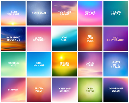 BIG set N3 of 20 square blurred nature backgrounds. With various love quotes relationship man woman. Sunset and sunrise sea blurred background