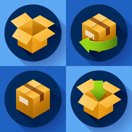 retailing: Delivery and free return of gifts or parcels. Shipping Concept icon for internet store. Flat design style Illustration