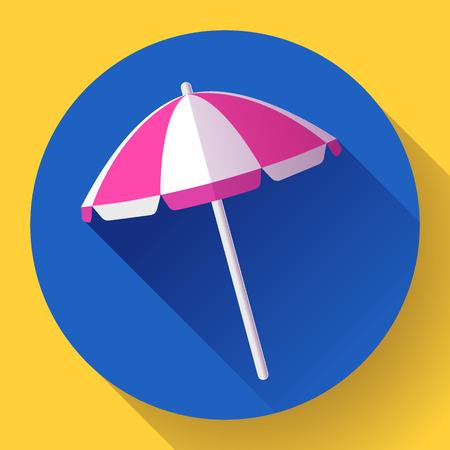 view icon: Beach umbrella, top view icon. Vector. Flat design style