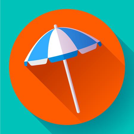 Beach umbrella, top view icon. Vector. Flat design style