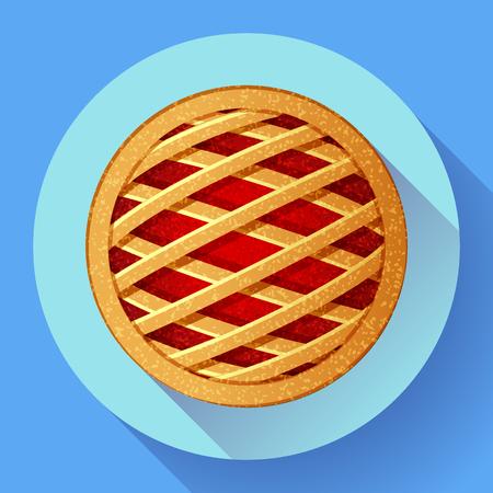 blueberry pie: Apple Pie vector icon Flat designed style. Illustration