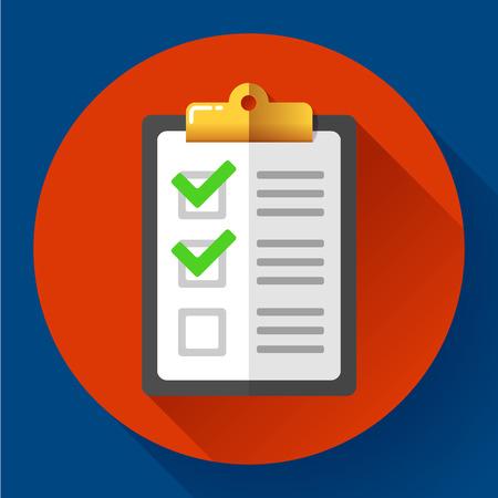 todo: vector clipboard with green checklist icon flat.