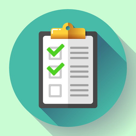 medical evaluation: vector clipboard with green checklist icon flat.
