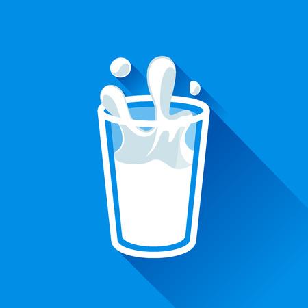 glass of milk splash vector icon flat style.