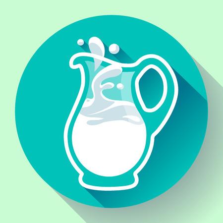milk jug: Glass milk jug milk with splash fresh Illustration