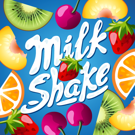 chewing gum: Cover for the food product - Multifruit. Strawberry, kiwi, orange, cherry and peach. With lettering milkshake. Suitable for yogurt, chewing gum, milk, juice or candies