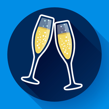 good friends: Two glasses of champagne flat icon with long shadow - celebration symbol