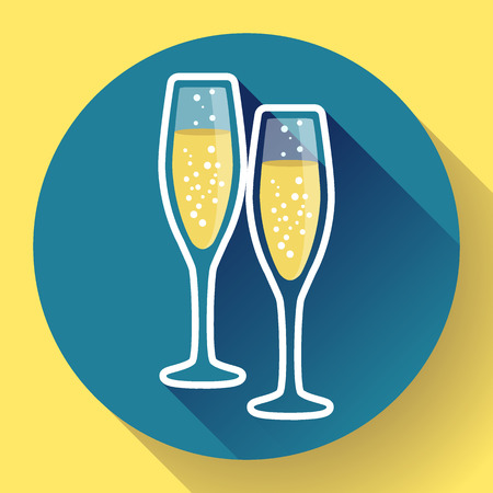 Two glasses of champagne flat icon with long shadow - celebration symbol