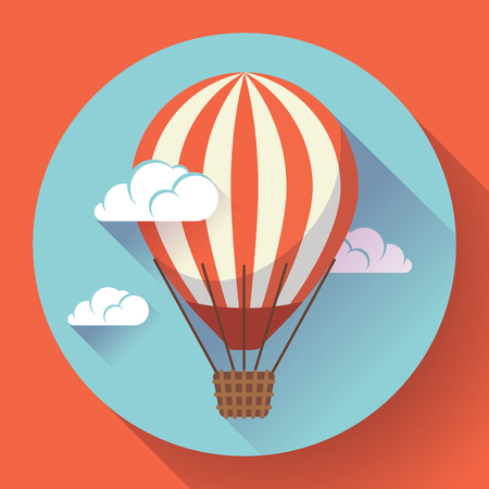 hot air balloon icon in the sky clouds vector. Illustration