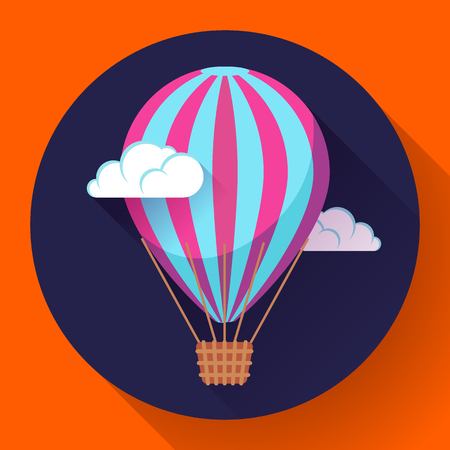 inflating: hot air balloon icon in the sky clouds vector. Illustration