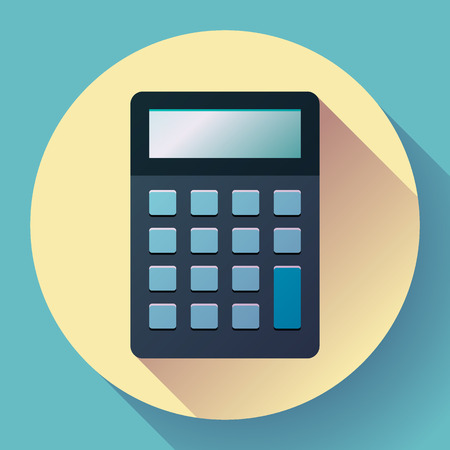 estimation: Calculator icon flat style isolated on colored background. Vector electronic calculation. Illustration