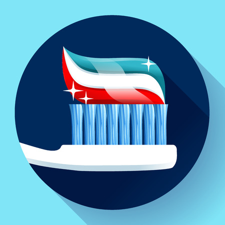 toiletry: Toothbrush with toothpaste Icon flat style. Tricolor and shining with sparkles. Dentist care symbol.