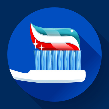 woman hygiene protection: Toothbrush with toothpaste Icon flat style. Tricolor and shining with sparkles. Dentist care symbol.
