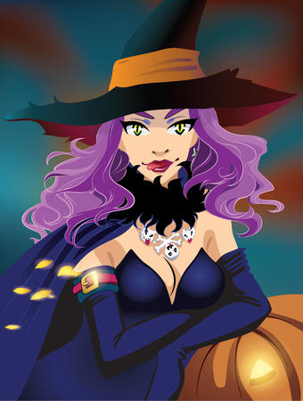sexy halloween: Poster. Sexy Halloween witch with purple long hair and pumpkin Illustration