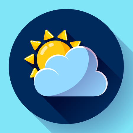 partly sunny: flat color weather icon meteorology icon with long shadow - partly sunny