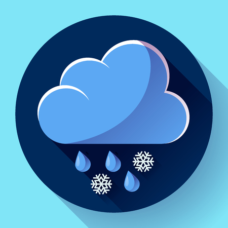 meteorology: flat color weather icon meteorology icon with long shadow - wet snow Illustration
