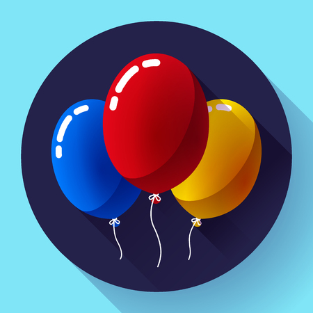exhilaration: Festive multicolored air balloons icon holiday symbol, birthday party icon Illustration