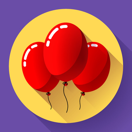 rejoicing: Festive multicolored air balloons icon holiday symbol, birthday party icon Illustration
