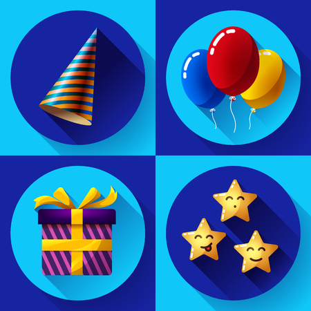 birthday party: Celebrating birthday party flat party icon set